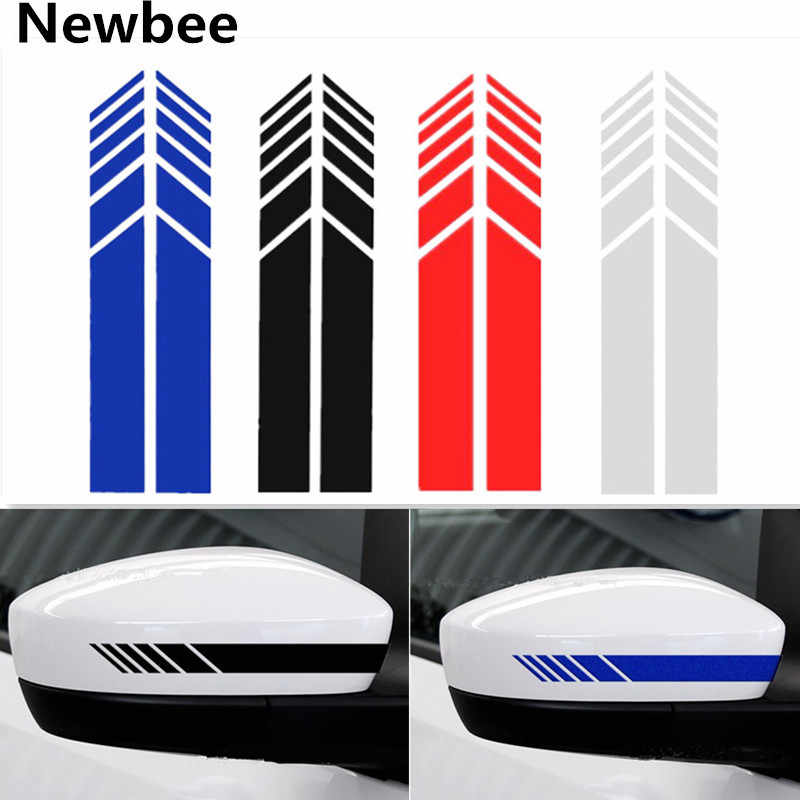 Newbee Pair Car Sticker Auto Graphic Reflective Racing Rearview Mirror Decal Strip Vinyl for Benz AMG GLK VW Honda Toyota BMW