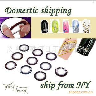 Free Shipping accessories wholesale nail painting line lasers with about 20 m back glue nails stick 20 color