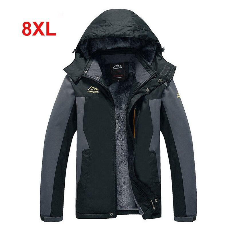 8XL oversized Men 2018 Winter Waterproof Hiking Camping Trekking Fishing Climb Hood Jacket Outdoor Coat Plus