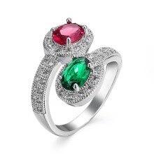 Silver Plated Luxury Red and Green Zirkon Crystal Ring AAA CZ zircon Jewelry Wedding Rings Size 6 / 7 / 8 / 9/10 Rings Women