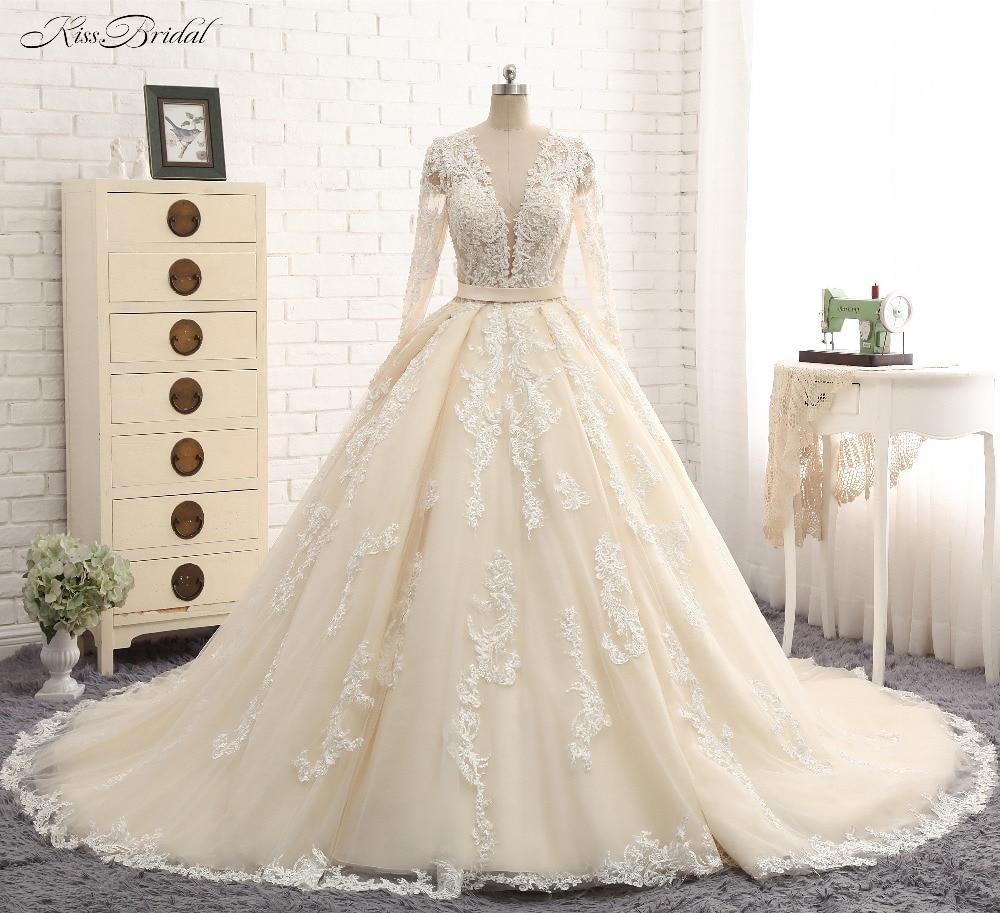 Vestido De Noiva 2017 New Elegant Lace Applique Tulle: New Elegant Long Wedding Dress 2018 V Neck Long Sleeves