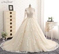 New Elegant Long Wedding Dress 2018 V Neck Long Sleeves Chapel Train Appliques Lace Tulle A