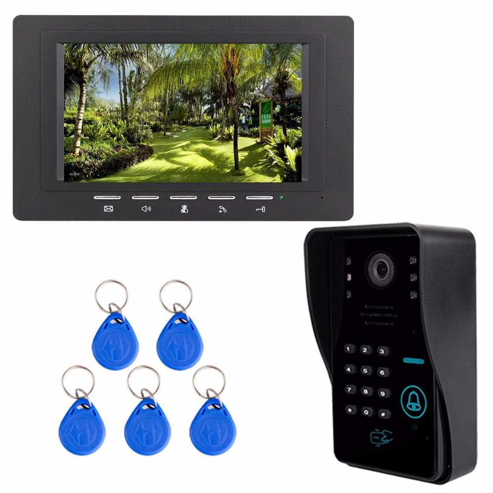 7 Color TFT LCD Video Door Phone System Wired Visual Dual-way Intercom With RFID ID Card Doorbell For Home Apartment F3367A homefong 10 home wired video door phone audio visual intercom entry system for villa dual way intercom support sd ip65 1v3