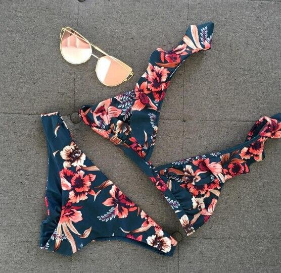 Две части Для женщин Цветочный пуш ап бюстгальтер оборками бинты набор бикини в форме треугольника купальник купальный костюм треугольник ванный комплект пляжная одежда