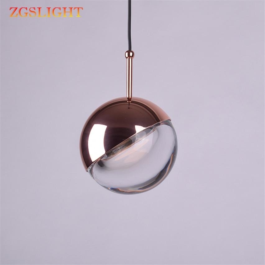 Modern Art Nordic Electroplating Glass Ball Bedroom Bedside Pendant Lights Dining Room Restaurant Bar Lamp Designer Headlights