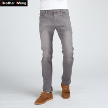 Brother Wang Men's Slim Fashion Jeans High Quality Male Elastic Gray Skinny Leisure Jeans Brand Clothing
