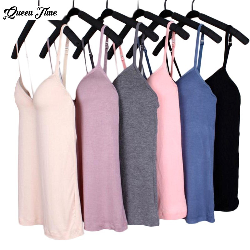Women Adjustable Strap Built In Bra Padded Bra Modal   Tank     Top   Camisole dropship