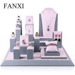 FANXI Modieuze Roze Kleur Surper Fiber Materiaal Sieraden Set Rek voor Het Weergeven Van Sieraden Tentoonstelling