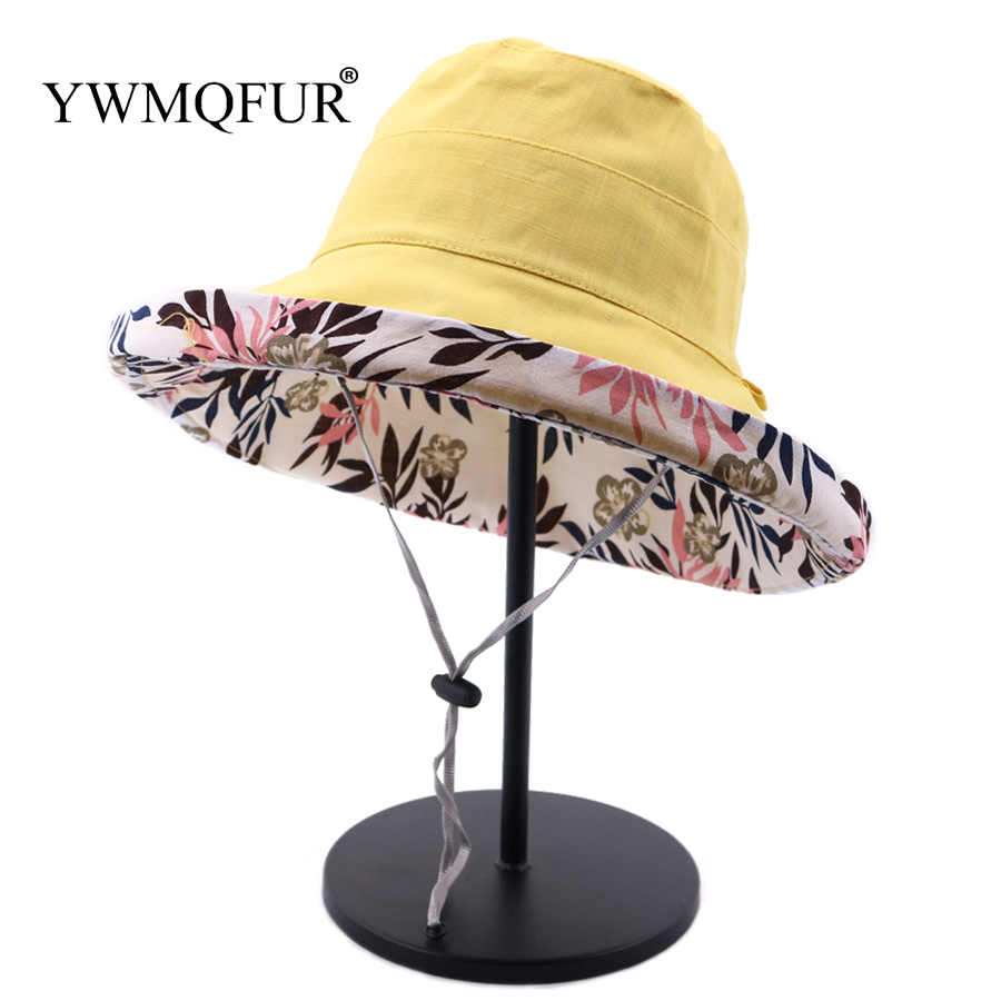 ffa9b38d YWMQFUR Brand Bucket Hat Women Double Sided Print Wide Brim Fishing Cap  Visor Summer Beach Sun
