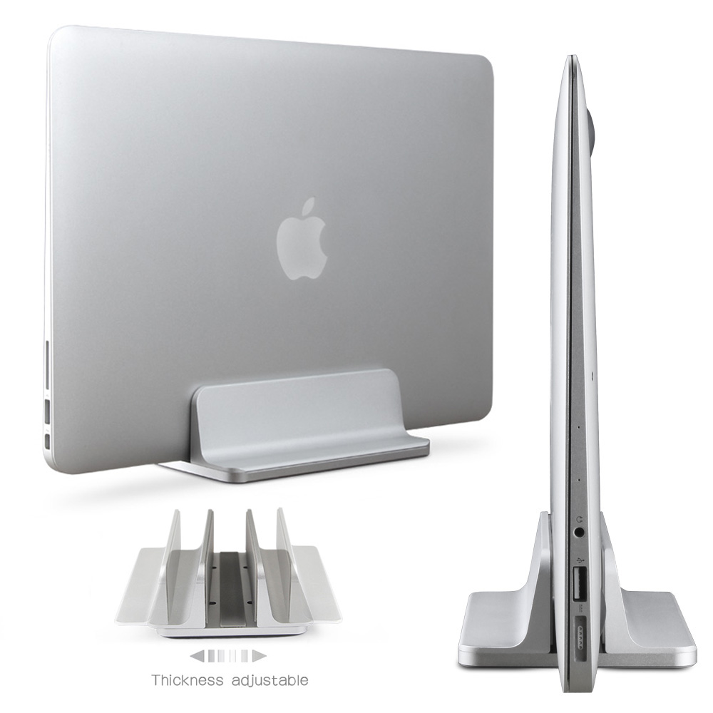 Aluminum Vertical Laptop Stand Adjustable Desktop NoteBooks Holder Erected Space-saving Stand for MacBook Pro / Air /Retina