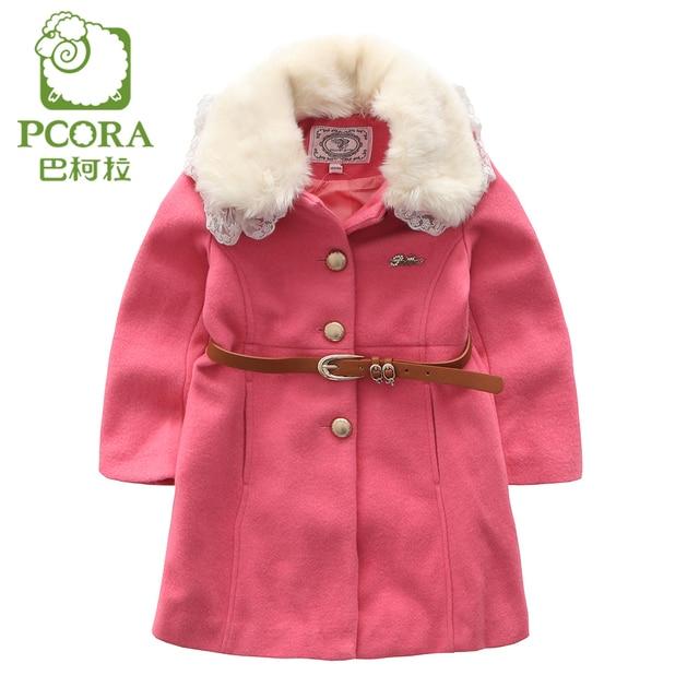 983ae3501 PCORA Kids Girls Wool Coat Autumn Winter Detachable Belt Lace Fur ...