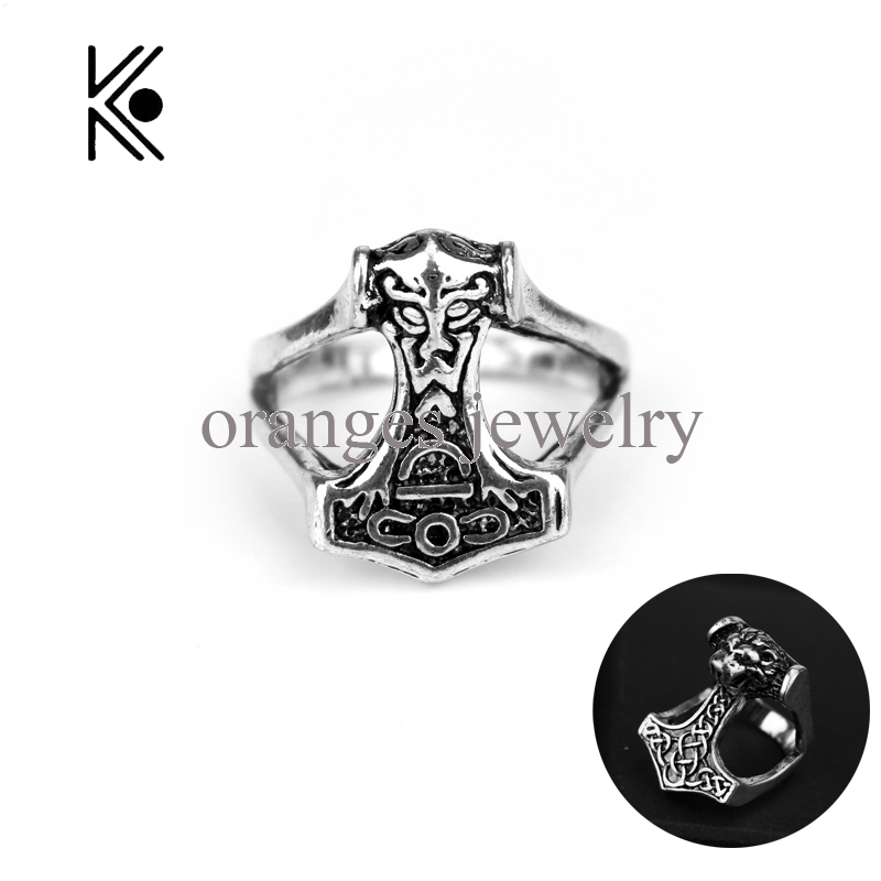 Cool Black Lion King Vikings Jewelry Thor Alloy Ring Thors Hammer Celtic Knot Myth Rings Cross Ring Gift For Fans Free Shipping