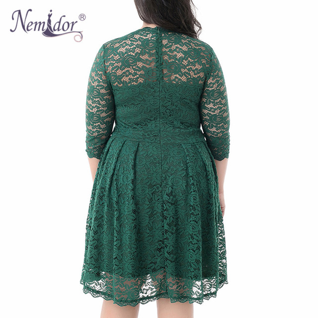 Women Elegant 3/4 Sleeve Midi Cocktail A-line Dress Sexy V-neck Party Plus Size 8XL 9XL Vintage Swing Lace Dress 5