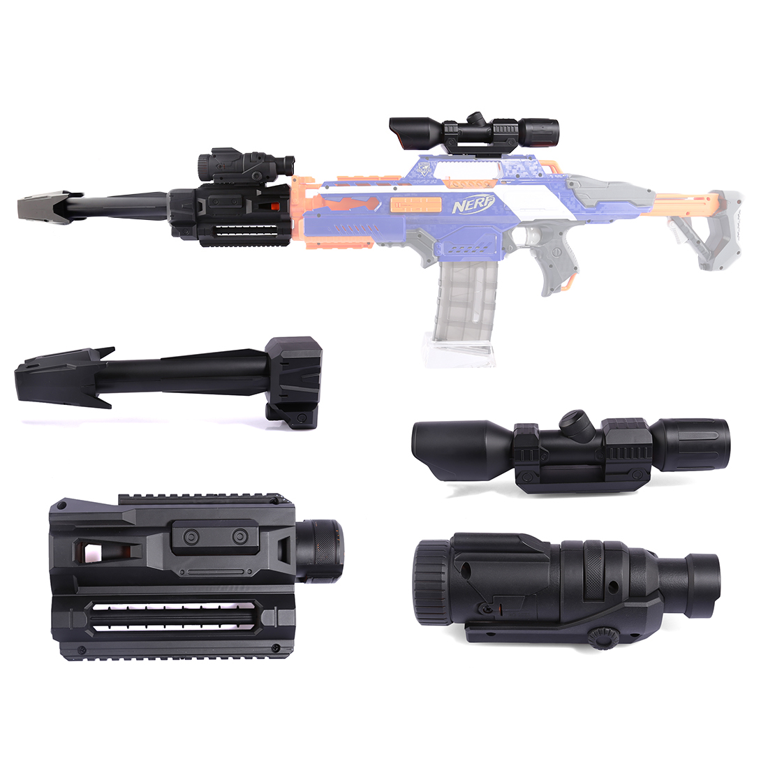 4 Pcs/set Modified Part Front Tube Decoration For Nerf Toy Gun Guide Rail + Sighting Device + Flashlight + Front Tube Decoration