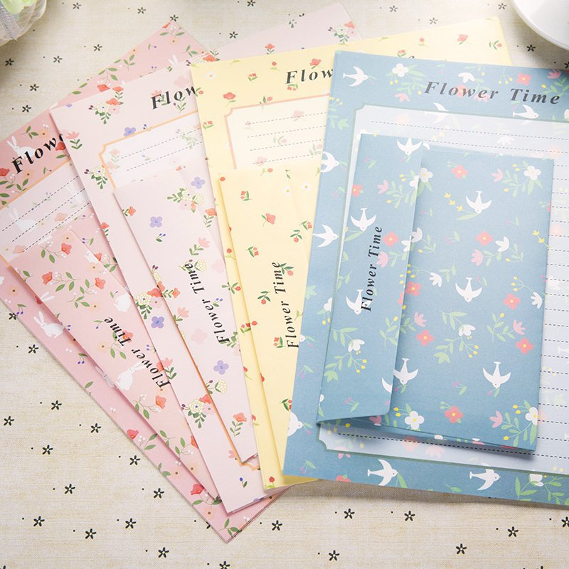 Coloffice (6 Letter Paper+3 Envelopes) Set Creative RetroCartoon Small Floral Sweets Envelope Letter Set Office School Supplies