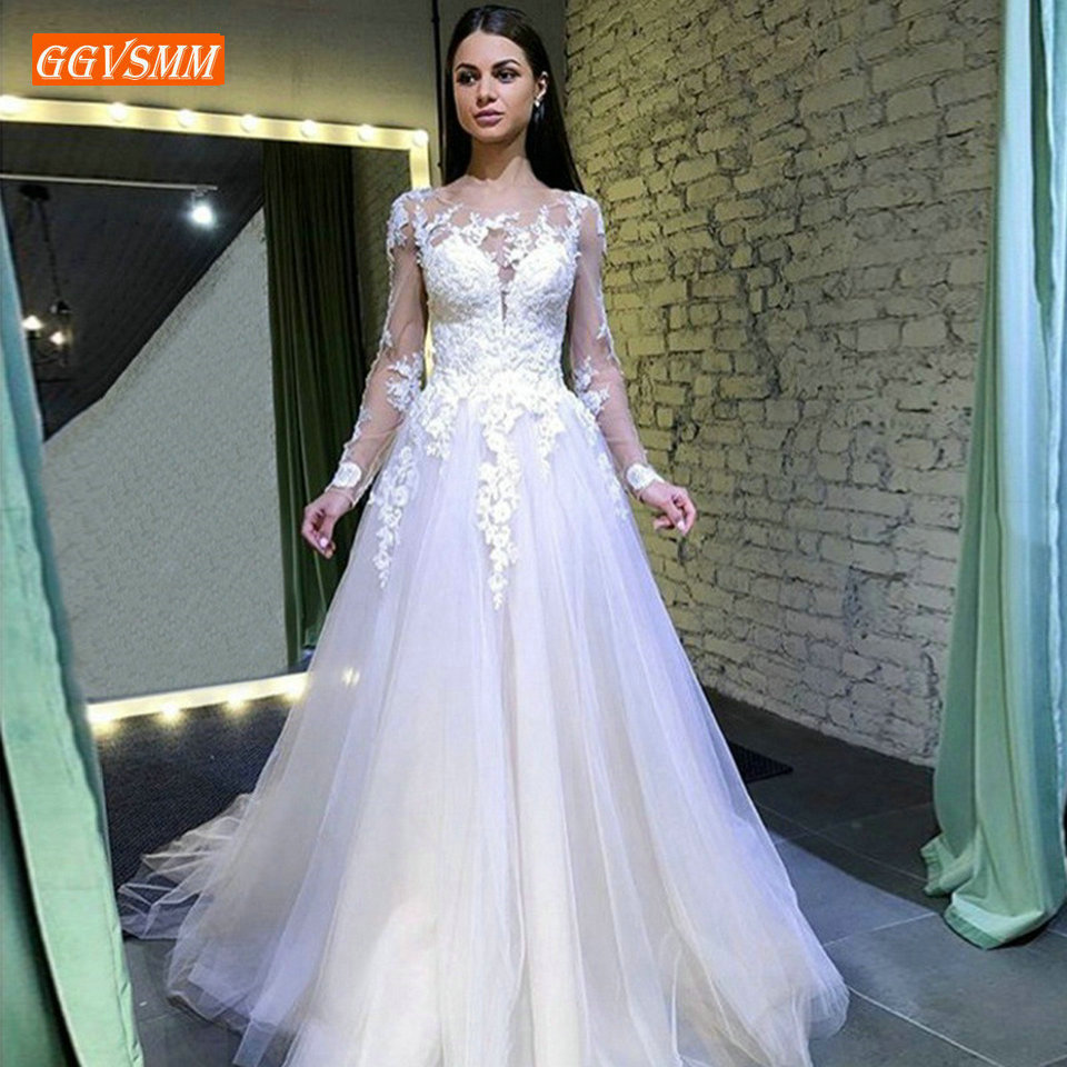 Noble White Wedding Dresses Long 2019 Sexy Ivory Wedding Gowns Women Party Scoop Tulle Lace Appliques