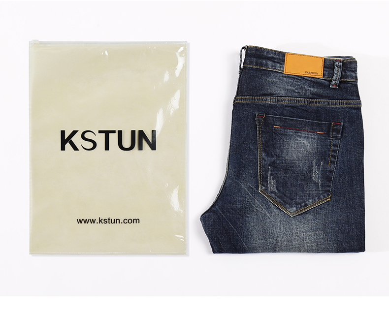 KSTUN Ripped Jeans Men Autumn and Winter Dark Blue Stretchy Slim Straight Heavyweight Streetwear Moto & Biker Jeans Famous Brand 21
