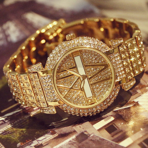 Image 1 - 2019 Luxury Diamond Women Watches Fashion Stainless Steel Bracelet Wrist Watch Women Design Quartz Watch Clock relogio feminino