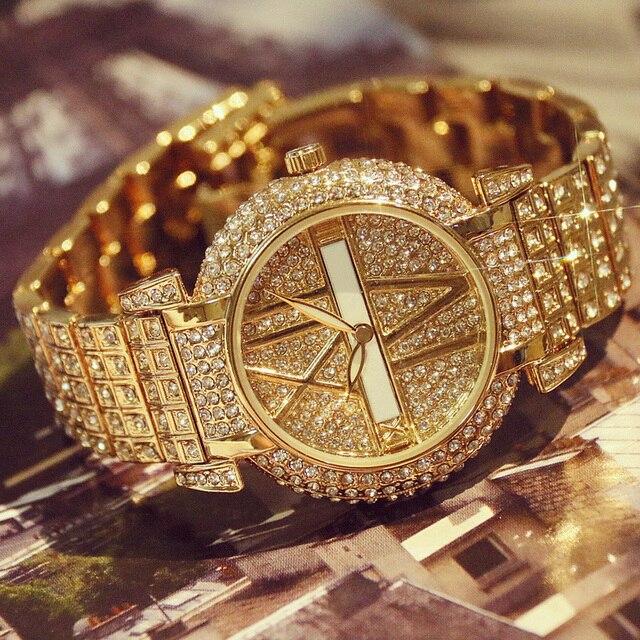 2019 di Lusso Delle Donne Del Diamante Orologi di Moda In Acciaio Inox Orologio Da Polso Del Braccialetto Delle Donne di Disegno Della Vigilanza Del Quarzo Orologio relogio feminino