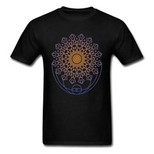 Inner Mandala T-shirt Men Black Tshirt 100% Cotton