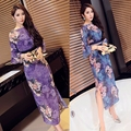 2016 summer chinese traditional long dress fashion designed printed sexy retro cheongsam  for women