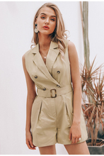 Sexy Khaki Button Casual Rompers