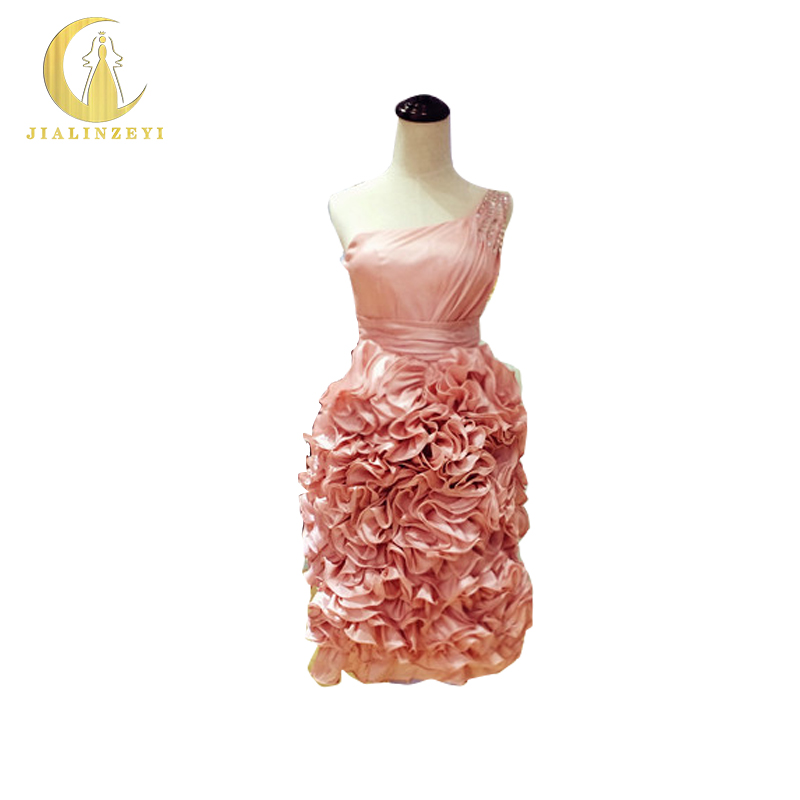 Rhine Real Sample Image One Shoulder Ruffle Crystal Drap Knee Length Bridesmaid Dresses 2017