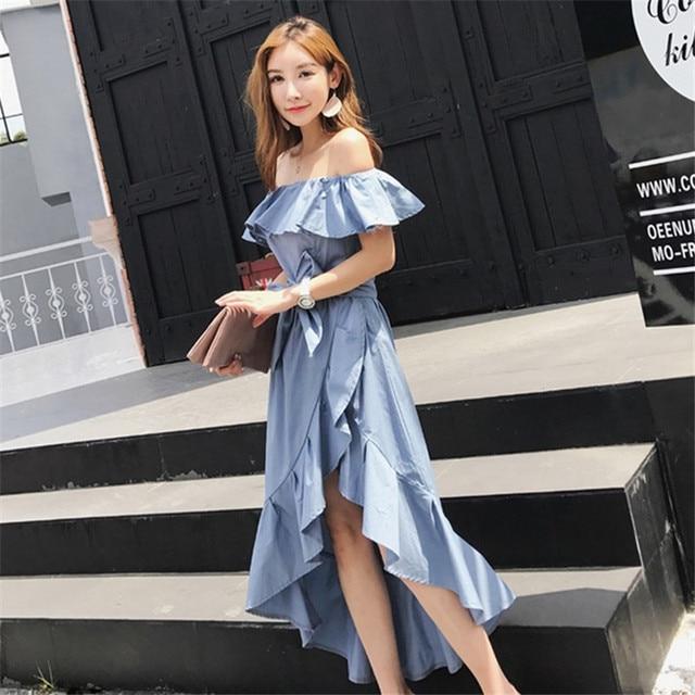 Korean Sexy Off Shoulder Ruffle Sleeve Dress Women Japan Summer New High Waist Elegant Backless Bandage