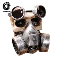 Fashion Gothic Retro Steampunk Cosplay Gas Masks Silver Resin Goggles Rivets Respirator Anime Party Halloween Punk Costume Props