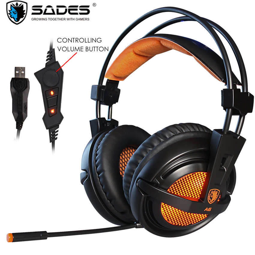 Sades A6/A6 Plus Best Computer Gaming Headphones with Mic Led USB 7.1 Surround Sound Headset Gamer for PC Casque Game Earphones sades a6 usb 7 1 surround sound stereo gaming headset headband over ear headphone with mic volume control led light for pc gamer