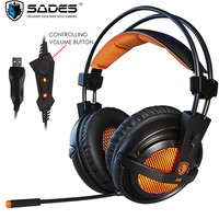 Sades A6/A6 Plus Best Computer Gaming Headphones with Mic Led USB 7.1 Surround Sound Headset Gamer for PC Casque Game Earphones