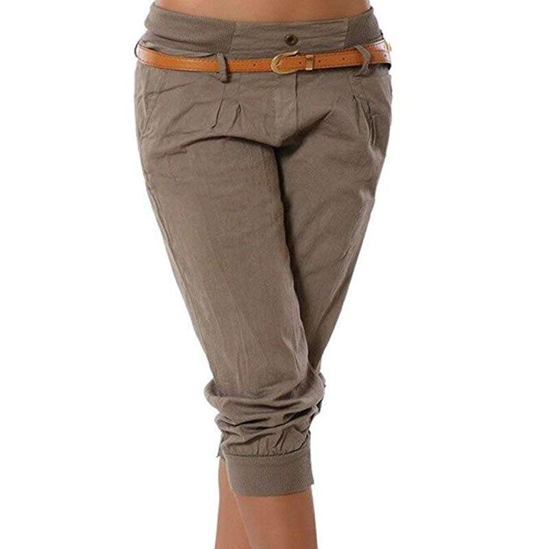 Capri Pants Women Fashion Streetwear Casual Solid 3/4 Harem Pants Low Waist Slim Black Pencil Pants Clothes Plus Size S-5XL