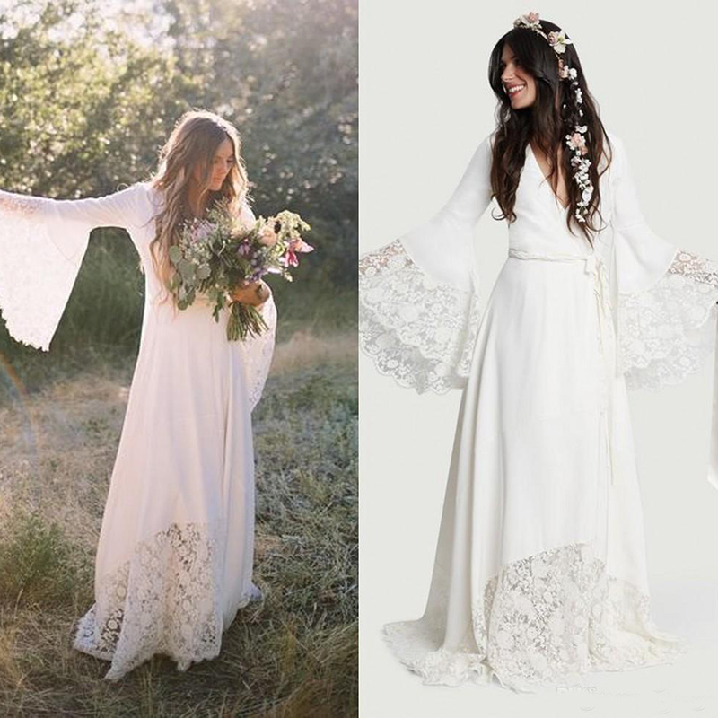 Beach Wedding Dresses 2019 Chic Boho Bohemian Long Bell Sleeve Lace Flower Bridal Gowns Plus Size Hippie Wedding Dress Custom