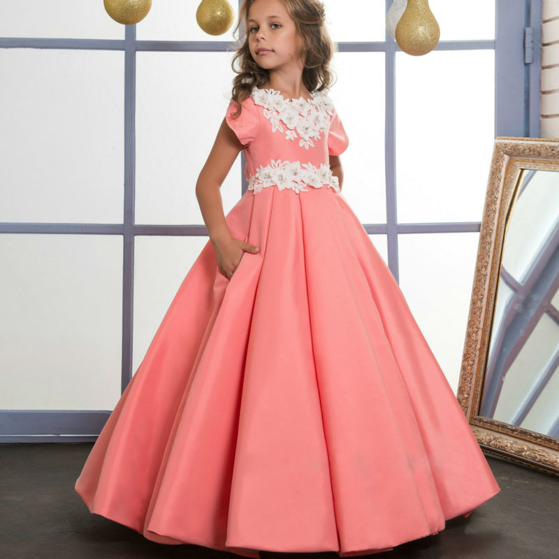 Pageant Dresses for Girls Glitz Satin Flower Girls' Dress for Weddings A-Line Dresses for 12 Year olds for Mother Daughter Dress girls grid a line flared dress