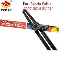 YOUEN Car Rain Wiper Blades For Skoda Fabia Size 21 21 08 12 Rubber Windscreen Car