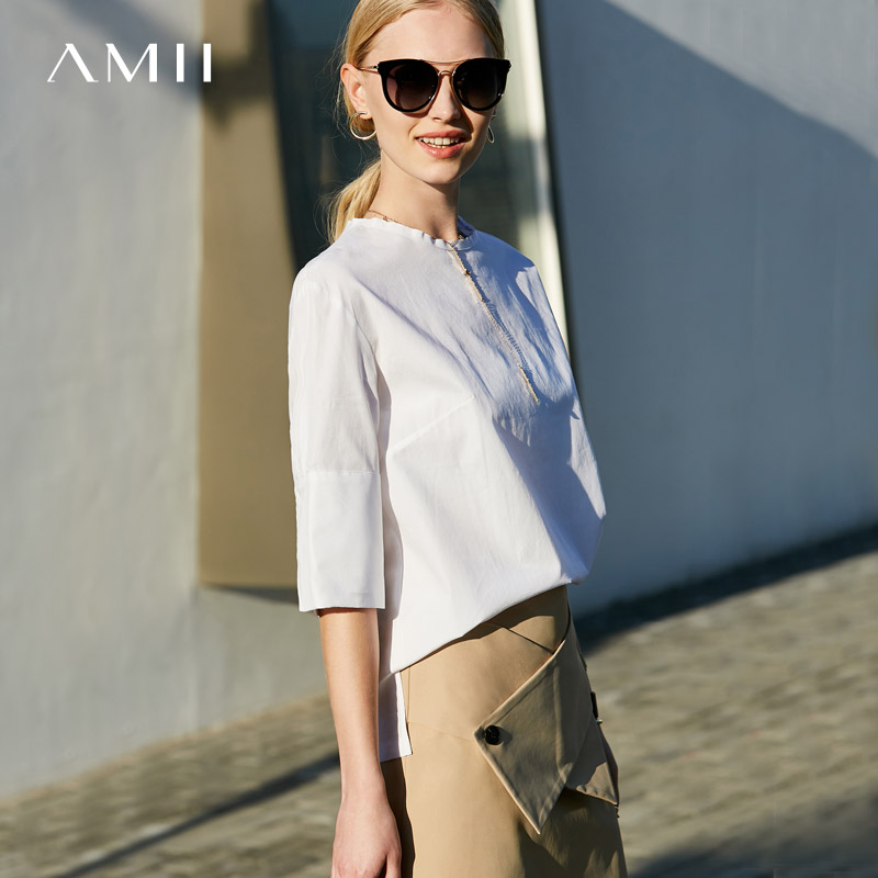 Amii Minimalist Women 2019 Spring   Blouse   100% Cotton Solid O Neck Half Sleeve Female   Blouses     Shirts