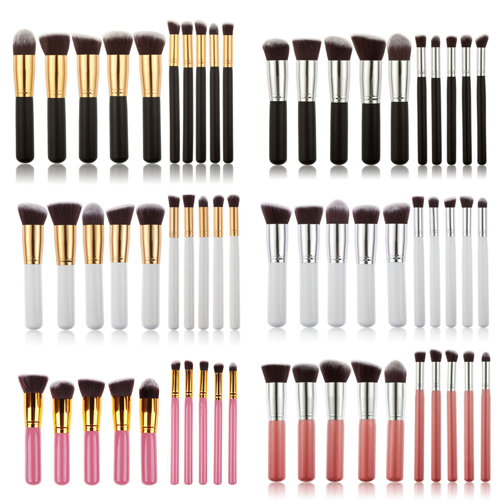 10Pcs Oval Makeup Brushes Cosmetics Foundation Blending Blush Eyeshadow Powder Eyebrow Make up Brush Tool Kit Set ABH 6pcs mermaid makeup brushes powder eyeshadow eyebrow blush blending make up tool fishtail cosmetic brush set 10sets lot os0414