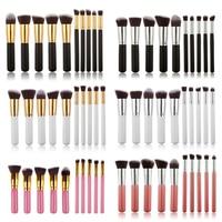 10Pcs Oval Makeup Brushes Cosmetics Foundation Blending Blush Eyeshadow Powder Eyebrow Make up Brush Tool Kit Set ABH