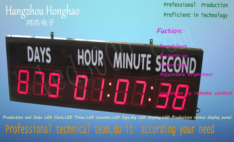 Livraison gratuite grande taille 4 pouces jours, heures, minutes et secondes compte à rebours horloge (HIT9-4R avec autocollant)