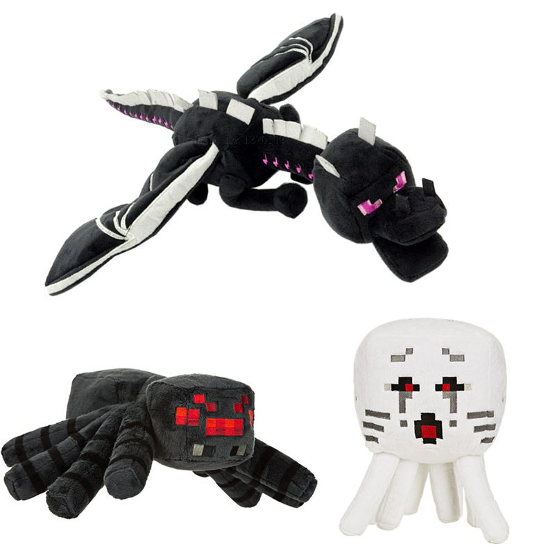 3pcs/lot Minecraft Deluxe Ender Dragon Spider Ghast Plush Toys Game Minecraft MC Plush Toy Soft Stuffed Toys Doll for Kids Gifts 2015 hot 24 60cm huge big minecraft ender dragon plush soft black minecraft pp cotton minecraft dragon toys