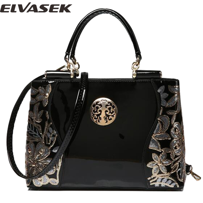 Elvasek  new women leather bags fashion women handbags embroidery style print ha