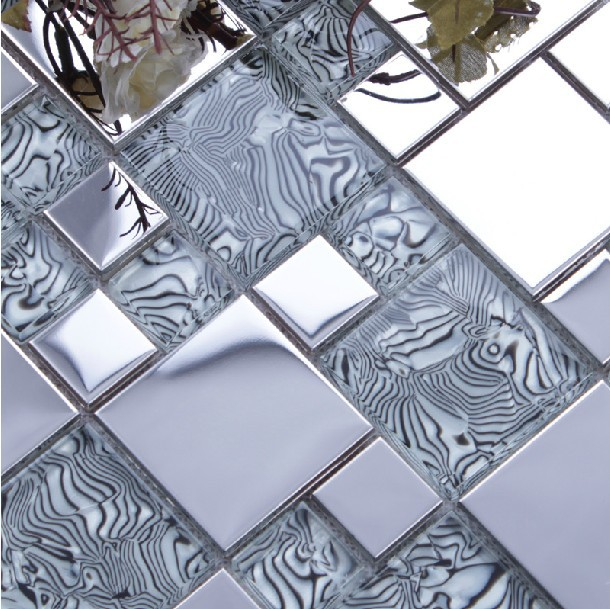light <font><b>gray</b></font> glass mixed silver stainless steel metal mosaic for kitchen backsplash tile bathroom shower mosaic tiles border