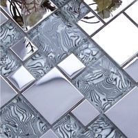 light gray glass mixed silver stainless steel metal mosaic for kitchen backsplash tile bathroom shower mosaic tiles border