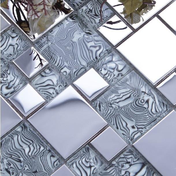 Light Gray Gl Mixed Silver Stainless Steel Metal Mosaic For Kitchen Backsplash Tile Bathroom Shower