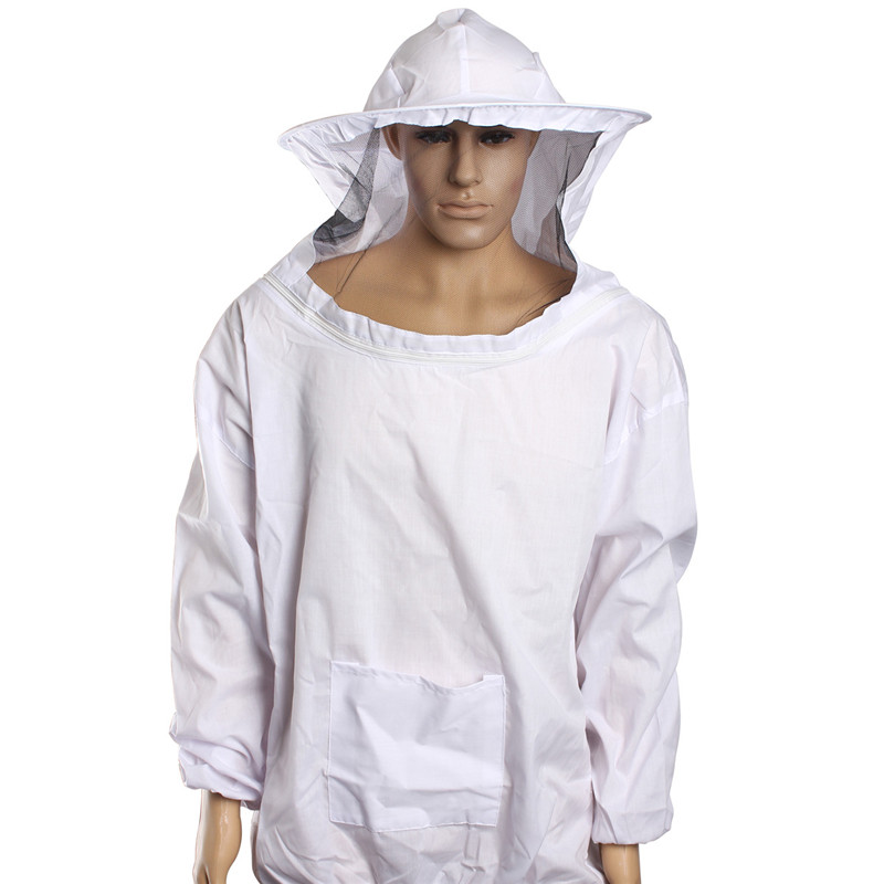 bilder für 1 Para Bienenzucht Langarm Handschuhe + Schutz Bienenzucht Jacke Schleier Anzug Outdoor Sicher Sicherheit Schutz Weiß Baumwolle