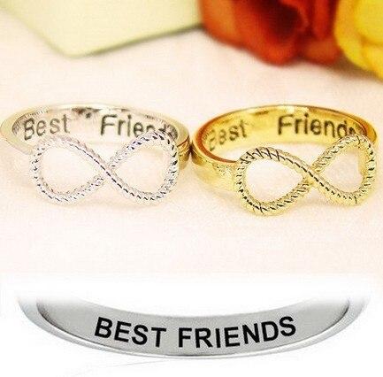 Rinhoo Best Friends Ring Women Infinity Pattern Jewelry Gold Silver Couple Ring