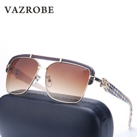VAZROBE Mens Oversized Sunglasses Luxury Brand Designer Flat Top Gold Square Sun Glasses For Men Fashion