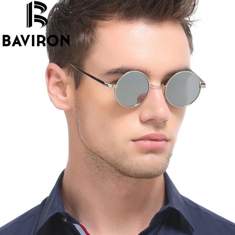 BAVIRON Hippie Steampunk lunettes de Soleil Mâle Polaroid Lentilles Lunettes Rétro Classique Hommes Mince Alliage En Métal Plat Rétro lunettes de Soleil 8045