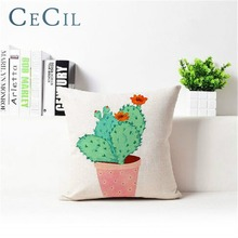 Tropical Cactus Linen Printing Sofa Decoration Pillow Cover Waist Case Home Office Decorative