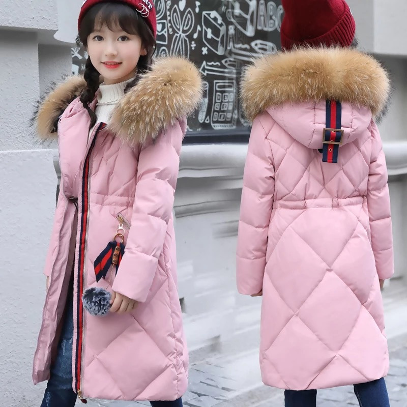 Girls Down Jacket Winter Thick 2017 Brand Hooded Girl Long Coats Big Fur Collar Children jacket Overcoat outerwear parkas girls down coats girl winter collar hooded outerwear coat children down jackets childrens thickening jacket cold winter 3 13y